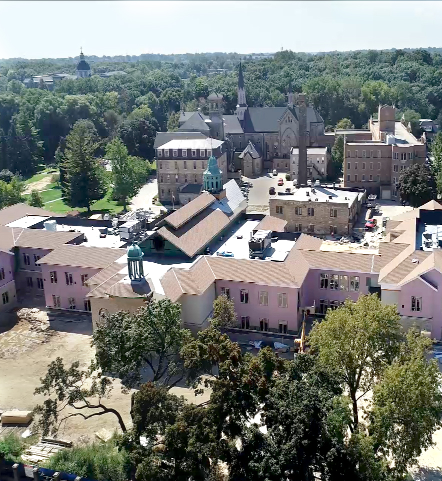Drone clip of new convent construction.