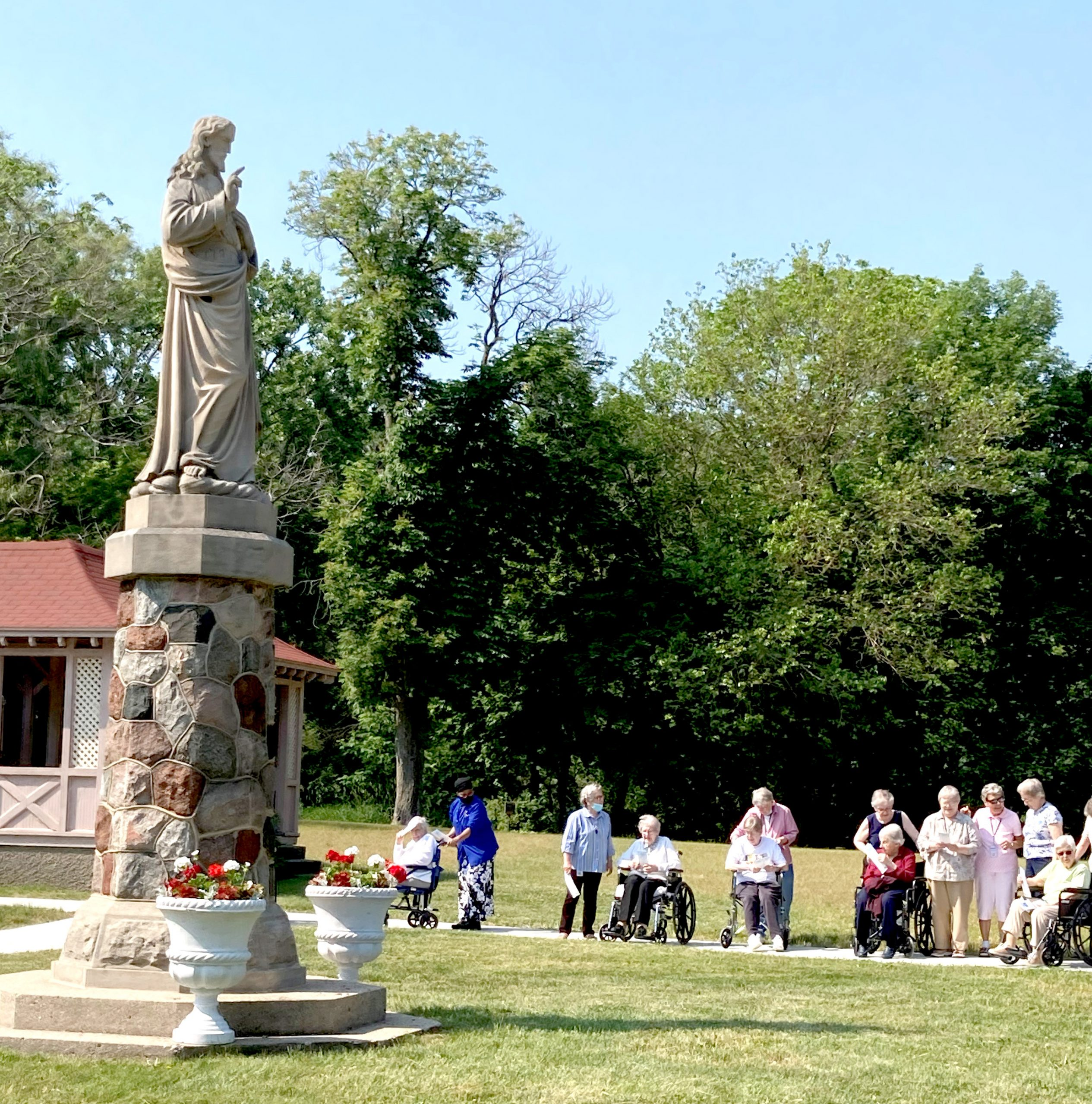 Sacred Heart Statue and sisters